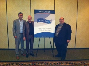 Tyler Leshney (LAC Group EVP of Corporate Strategy and Development) on the far left with Randy Gitsch (PRO-TEK Still Archives Manager) and Jim Harwood (PRO-TEK Operations Manager) at AMIA 2013.