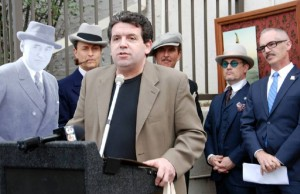 Stan Taffel, PRO-TEK restoration expert and film historian speaks at ceremony honoring Mack Sennett