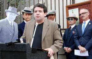 Stan Taffel, PRO-TEK restoration expert and film historian speaks at ceremony honoring Mack Sennett
