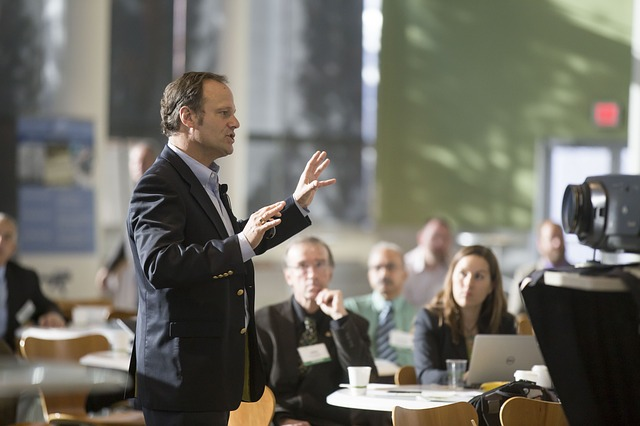 Speaking at conference